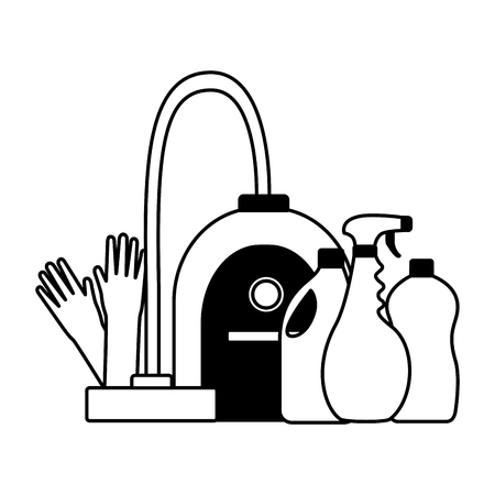 vacuum gloves products spring cleaning tools vector illustration Ilustrace
