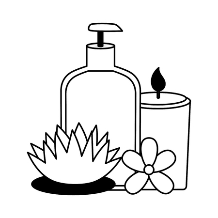 bottle dispenser gel candle flowers spa treatment therapy vector illustration