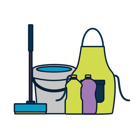 bucket apron broom bottles squeegee spring cleaning tools vector illustration