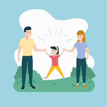 dad mom and daughter vector illustration design