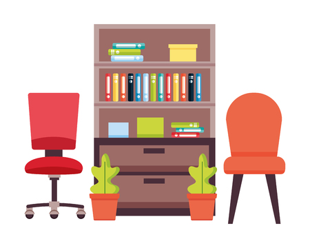 office bookshelf chairs furniture plant vector illustration