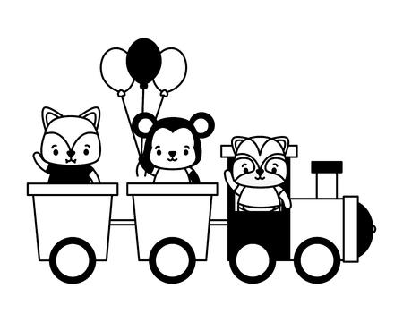 cute fox monkey raccoon train toys vector illustration