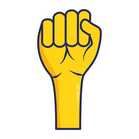 hand raised fist on white background vector illustration