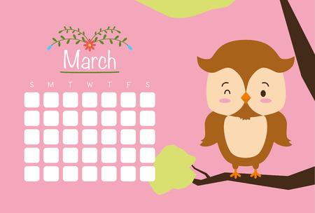 cute owl animal calendar cartoon vector illustration