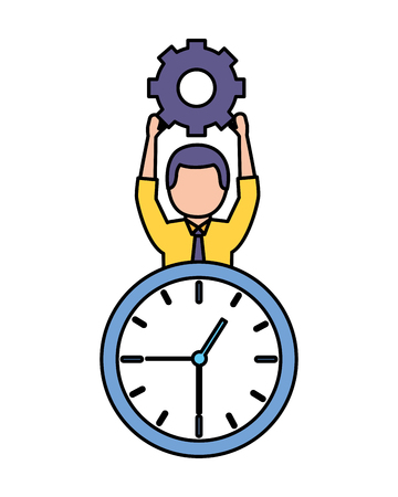 businessman holding gear clock time work vector illustration Archivio Fotografico - 122509807