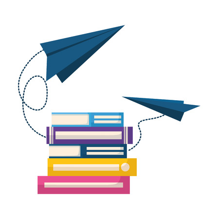 books with paper plane isolated icon vector illustration design Zdjęcie Seryjne - 122509817