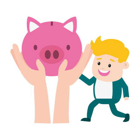 businessman hands with piggy online payment vector illustration