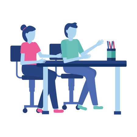 business people desk office vector illustration design