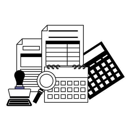 forms calculator calendar paid stamp magnifier tax payment  vector illustration Foto de archivo - 122146281