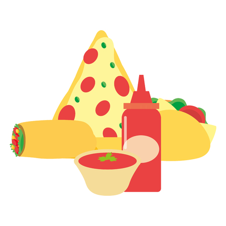 pizza burrito taco sauces vector illustration design Ilustração
