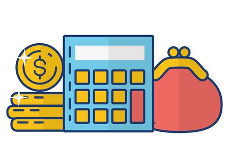 calculator money purse online payment vector illustration Çizim