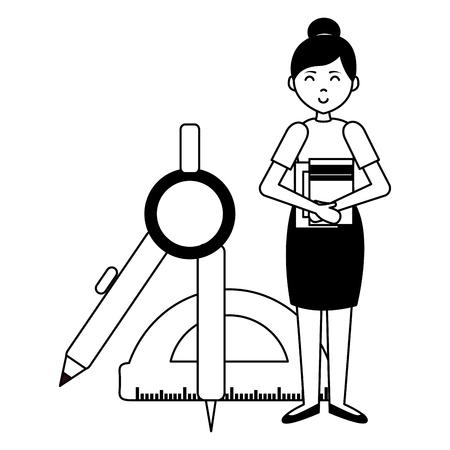 teacher woman compass protractor teachers day vector illustration