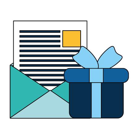 online shopping email gift box vector illustration