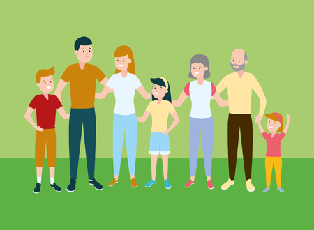 happy family parents kids grandparents vector illustration Imagens - 122509874