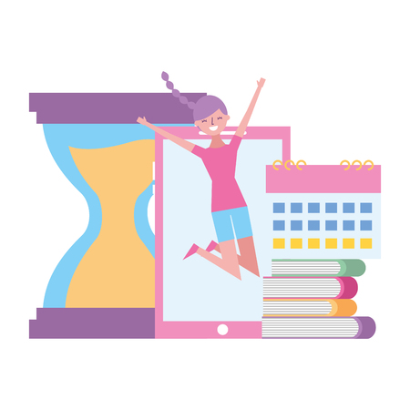 happy woman mobile clock books calendar vector illustration Ilustracja
