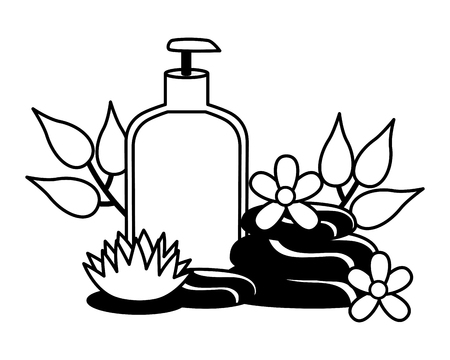 dispenser bottle stones flowers spa therapy vector illustration