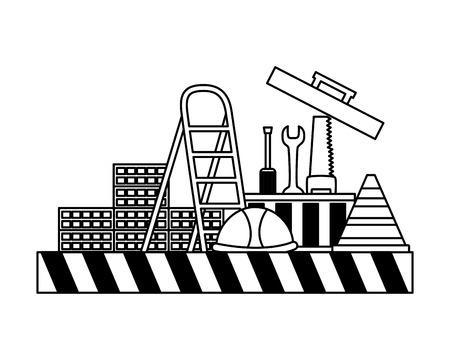 toolkit tools helmet stairs construction equipment vector illustration