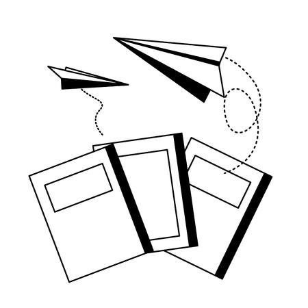 Día mundial del libro libros aviones de papel vuelan ilustración vectorial