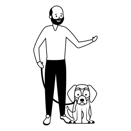man with his dog vector illustration