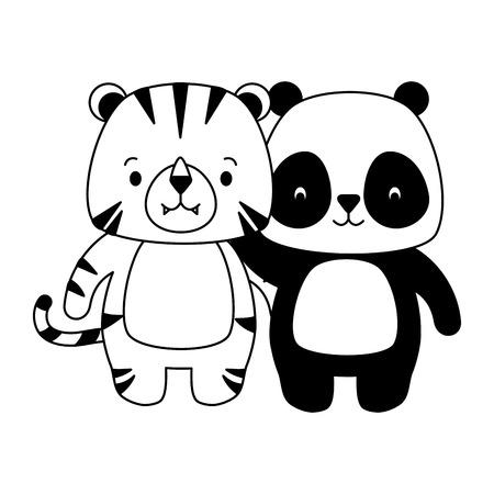 cute panda and tiger animal cartoon vector illustration