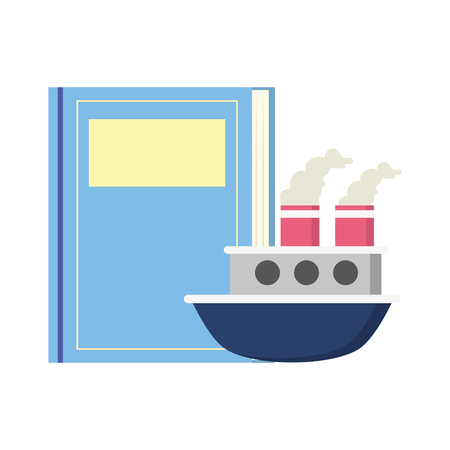 textbook boat in sea world book day vector illustration Illustration