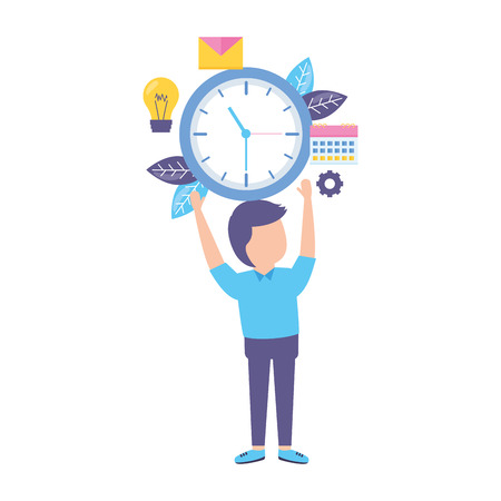 businessman holding clock time work vector illustration