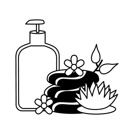 hot stones lotion flowers spa treatment therapy vector illustration Illustration