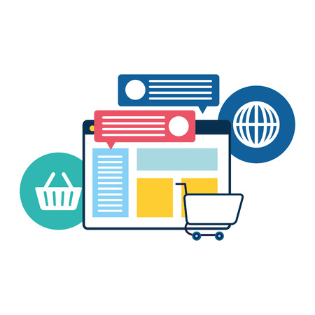Webseitenvorlage mit E-Commerce-Symbolen Vektor-Illustration Design Vektorgrafik