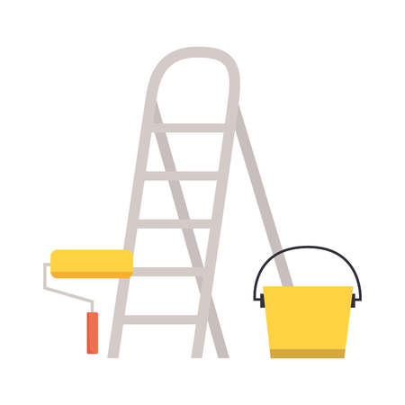 stairs roller paint bucket tool construction vector illustration