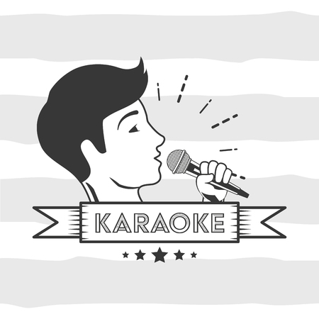 singer with microphone karaoke retro style vector illustration