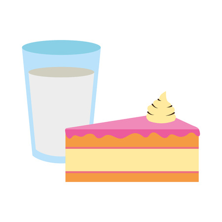 sweet cake and milk food vector illustration