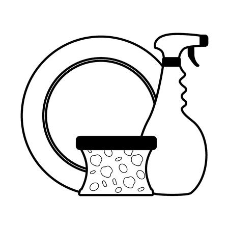 dish spray sponge spring cleaning tools vector illustration Illustration