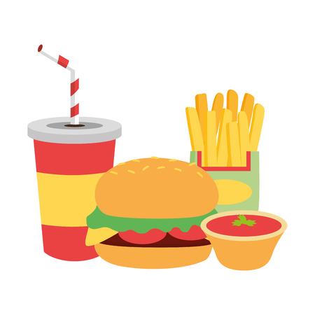 Burger-Pommes-Frites-Soda-Sauce-Fast-Food-Vektor-Illustration Vektorgrafik