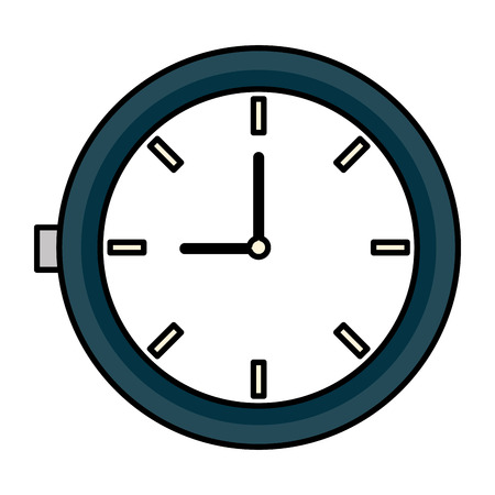 round clock time on white background vector illustration design