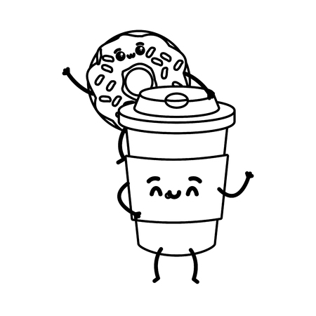 donut with coffee cup fast food cartoon vector illustration Standard-Bild - 122146517