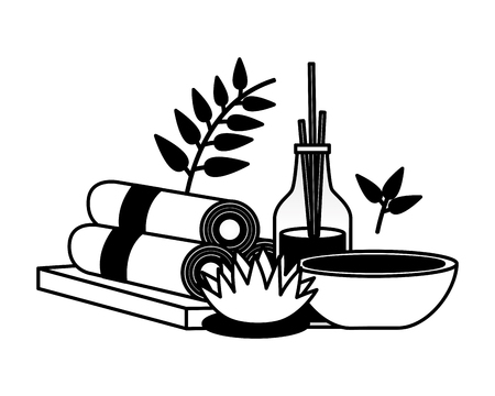 aromatherapy sticks towels mortar flower spa treatment therapy vector illustration