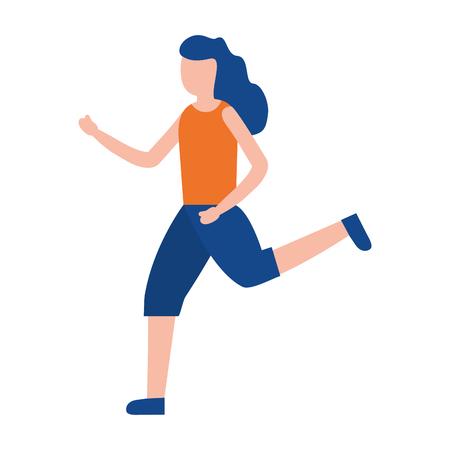 mujer joven, funcionamiento, deporte, actividad, vector, ilustración