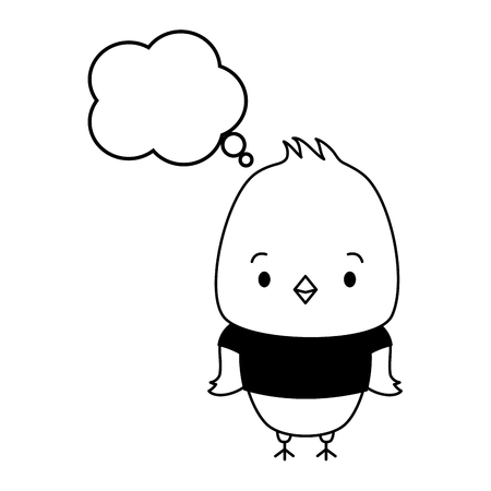 cute chicken cartoon speech bubble vector illustration design Foto de archivo - 122425142