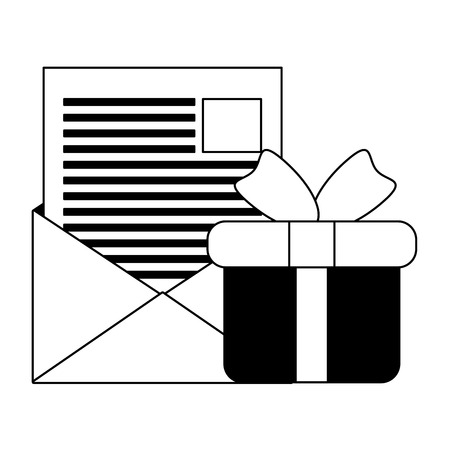 online shopping email gift box vector illustration Иллюстрация