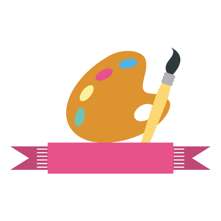 color palette with brush isolated icon vector illustration design