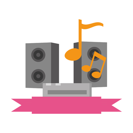 sound equipment with musical notes icon vector illustration design Illustration