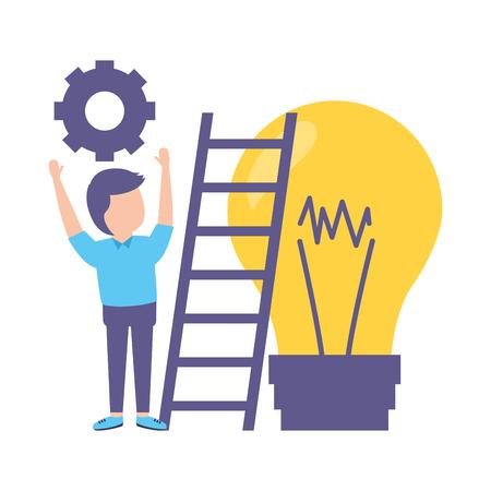 businessman stairs bulb gear idea Ilustrace