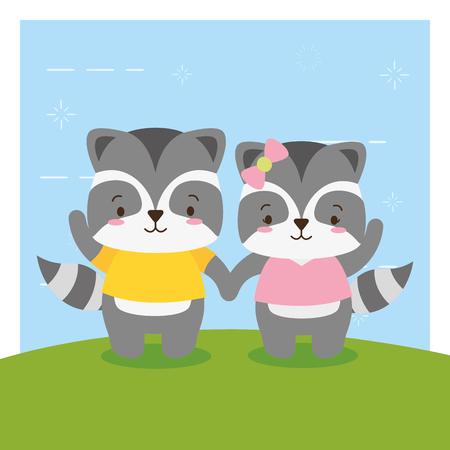 cute couple raccoon animal cartoon vector illustration design