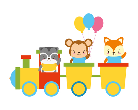 cute fox monkey raccoon train toys vector illustration