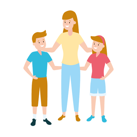 mom with son and daughter vector illustration Foto de archivo - 122425273