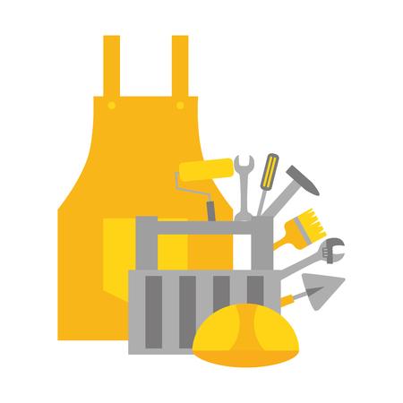 apron kit helmet construction tool vector illustration Standard-Bild - 122425281