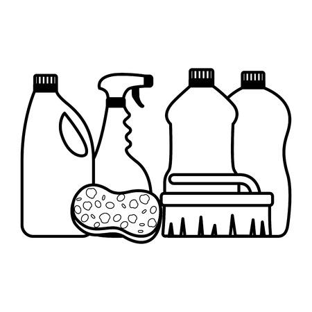 bottles brush sponge spring cleaning tools vector illustration Çizim