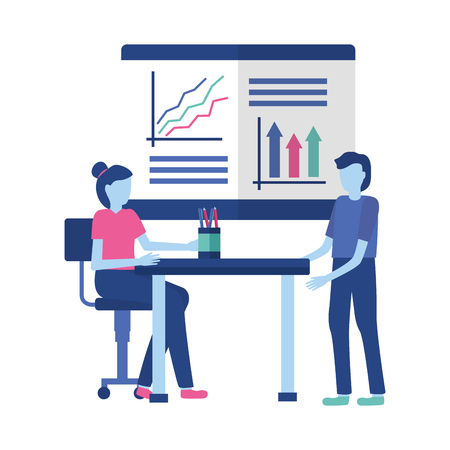 business people desk office report presentation vector illustration