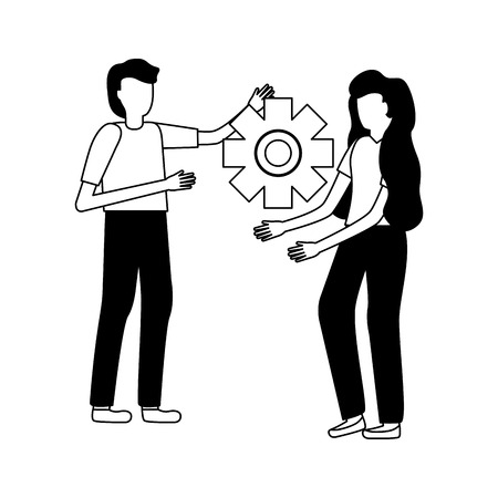 business people gear cooperation vector illustration design Çizim