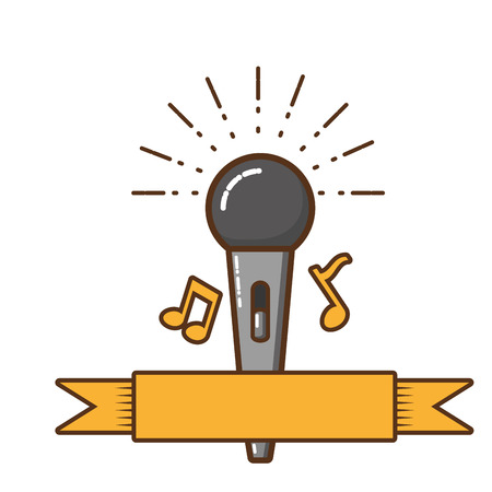 microphone with musical notes isolated icon vector illustration design